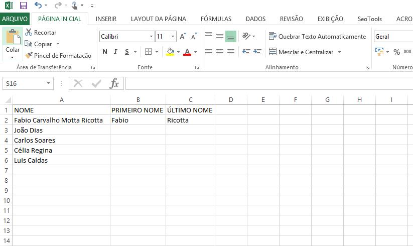 Fórmula de Nome e Sobrenome no Excel